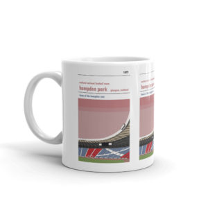 A coffee mug of Hamden Park, home of the Scottish National Team
