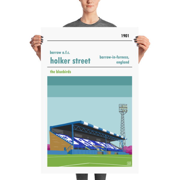 A large retro football poster of Holker Street and Barrow AFC