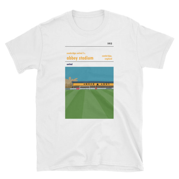 A white t shirt of Cambridge United and Abbey Stadium
