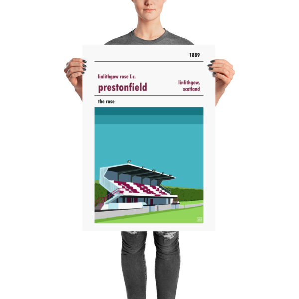 A retro stadium poster of Linlithgow Rose and Prestonfield