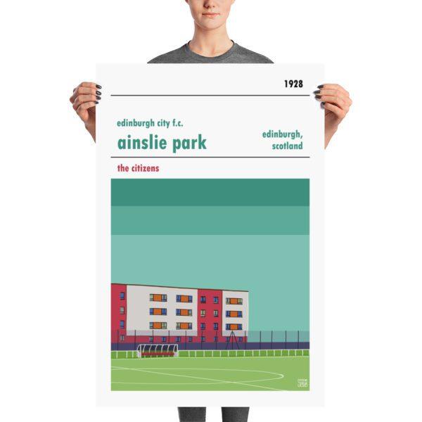 A large retro stadium poster of Edinburgh City f.c. and Ainslie Park