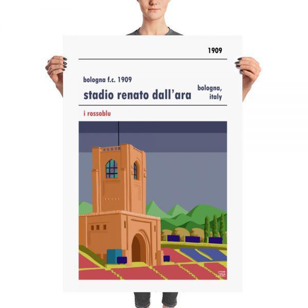 A huge football poster of Bologna FC 1909 and Stadio Renato Dall'Ara