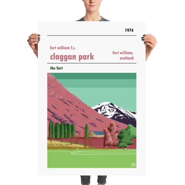 A huge retro stadium poster of Claggan Park and Fort William FC