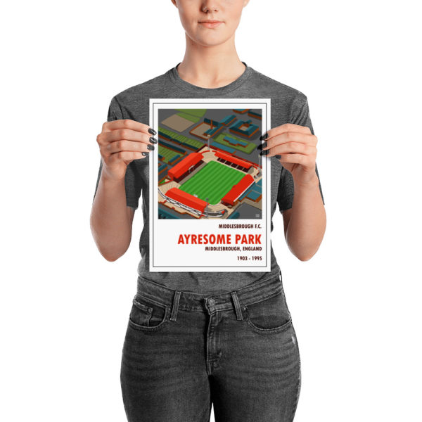 A small retro football poster of Ayresome Park and Middlesbrough FC
