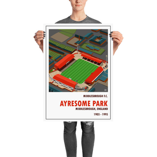 A retro football poster of Middlesbrough FC and Ayresome Park