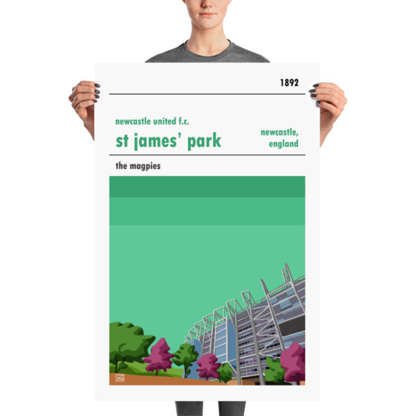 A large football poster of Newcastle United and St. James' Park. The Magpies