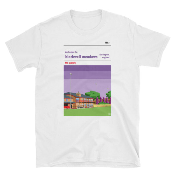 A Darlington FC white t shirt of Blackwell Meadows