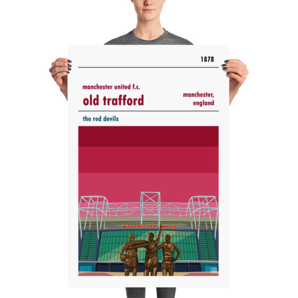 A large vintage stadium poster of Old Trafford and Man Utd