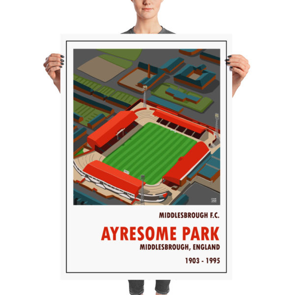 A huge vintage football poster of Middlesbrough and Ayresome Park