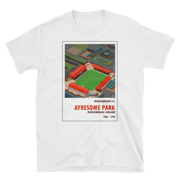 A white Middlesbrough and Ayresome Park t shirt