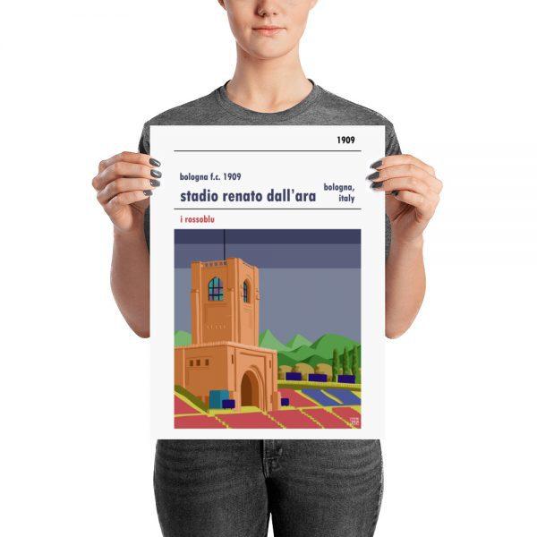 Medium sized vintage football poster of Bologna FC and Stadio Renato Dall'Ara
