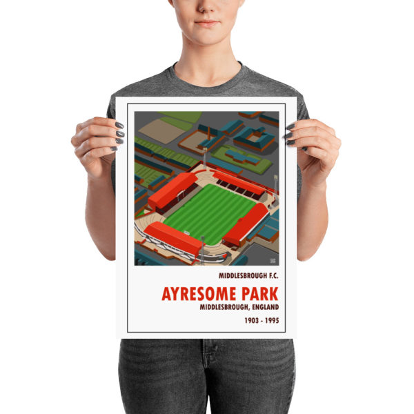 A medium sized vintage football poster of Middlesbrough FC and Ayresome Park