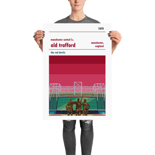 A retro football poster of Manchester United FC and Old Trafford