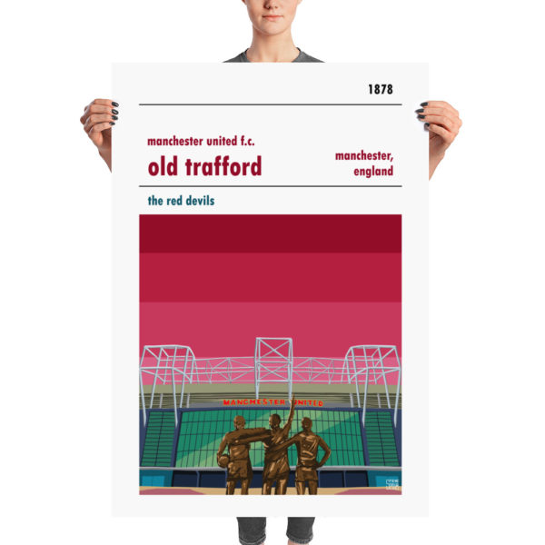 A huge football poster of Old Trafford and Manchester United