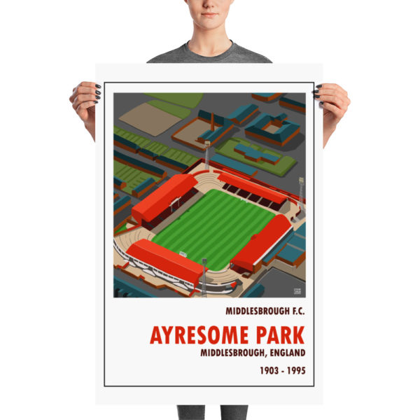 A large retro stadium poster of Ayresome Park and Middlesbrough FC