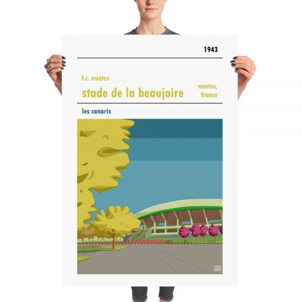 A huge retro football poster of FC Nantes and Stade de la Beaujoire