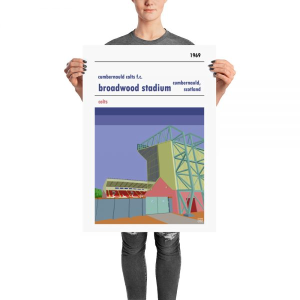 A retro look Broadwood Stadium and Cumbernauld Colts FC football poster