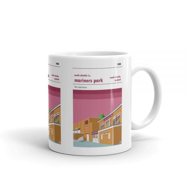 A coffee mug of South Shields FC and Mariners Park