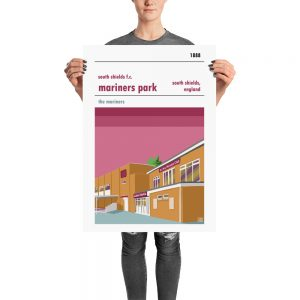 A retro football stadium poster of Mariners park, home to South Shields FC
