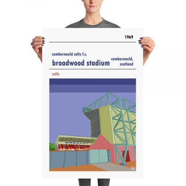 A large vintage football poster of Cumbernauld Colts and Broadwood Stadium