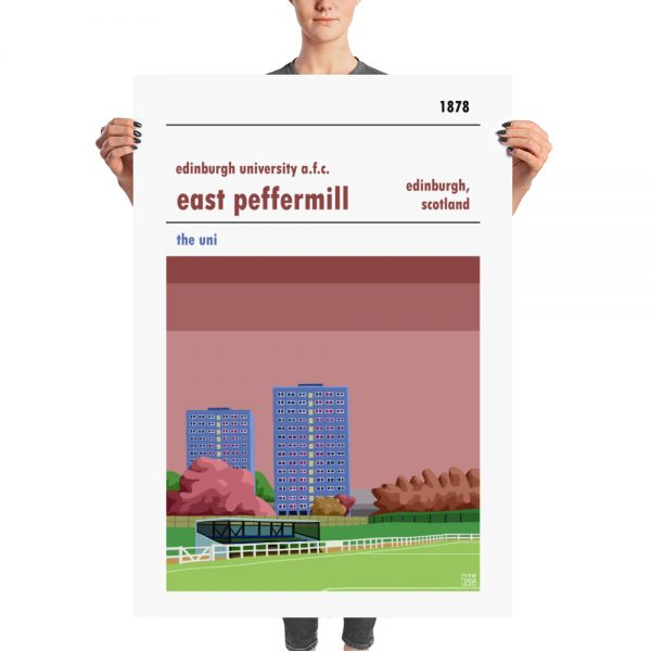 A huge football poster of East Peffermill and Edinburgh University AFC