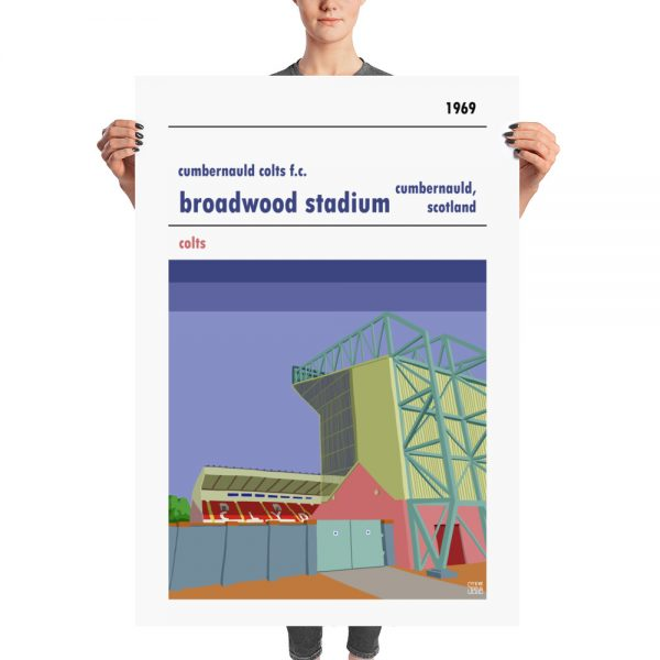 A huge vintage football poster of Cumbernauld Colts and Broadwood Stadium