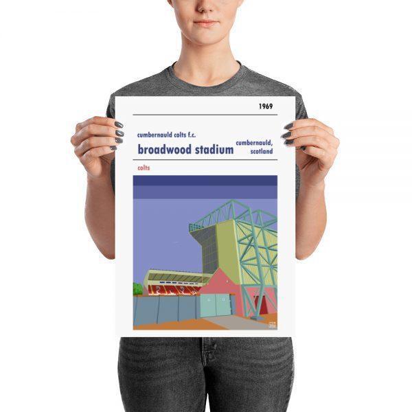 A medium sized retro football poster of Broadwood Stadium and Cumbernauld Colts f.c.