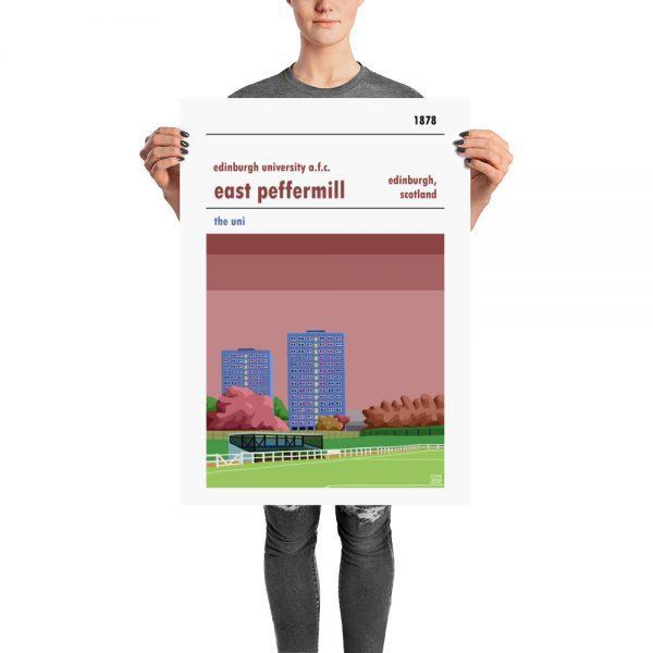 A vintage football poster of East Peffermill and Edinburgh Uni f.c.
