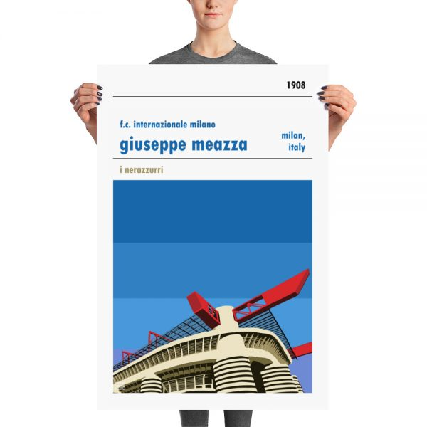 A large stadium poster of the San Siro and Inter Milan