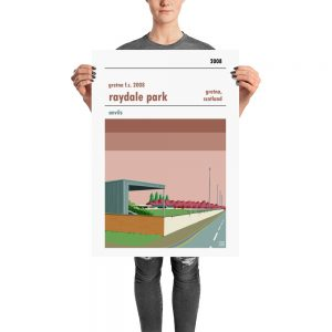 A retro stadium poster of Raydale Park and Gretna FC 2008