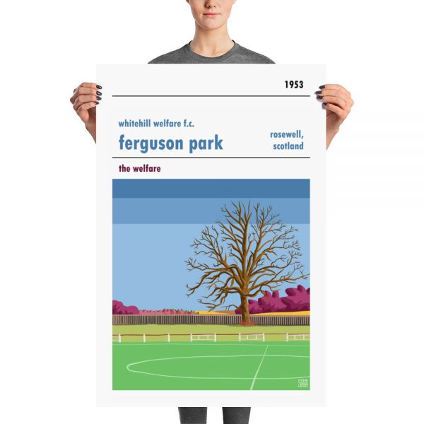 A huge retro football poster of Ferguson Park