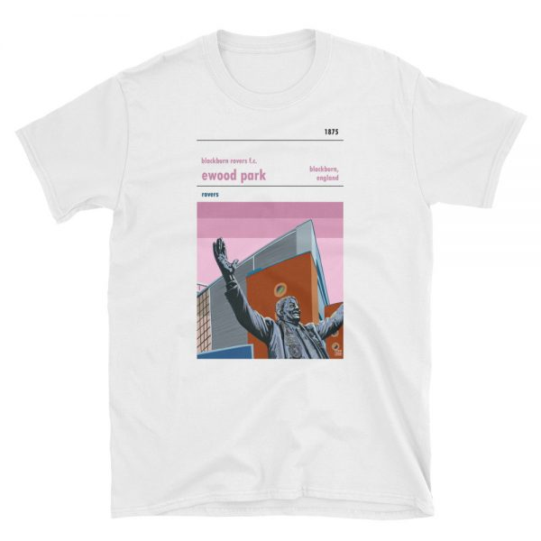 A pink background white t shirt of Blackburn Rovers FC and Ewood Park