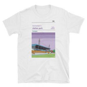 A white t shirt of Forfar Farmington and Station Park