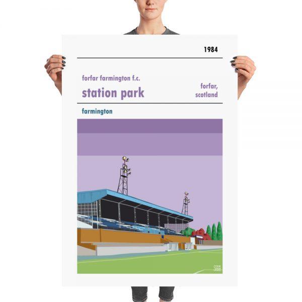A huge football poster of Forfar Farmington of the SWPL