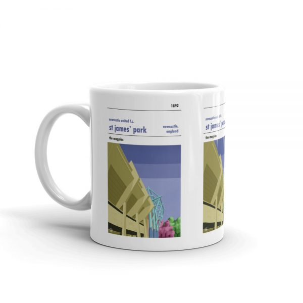 Coffee mug of St James' Park and Newcastle Utd. The magpies