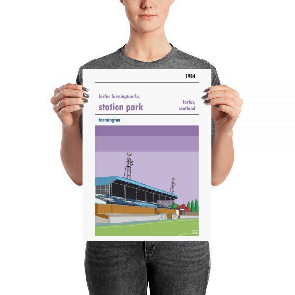 A medium sized football poster of Forfar Farmington FC and Station Park