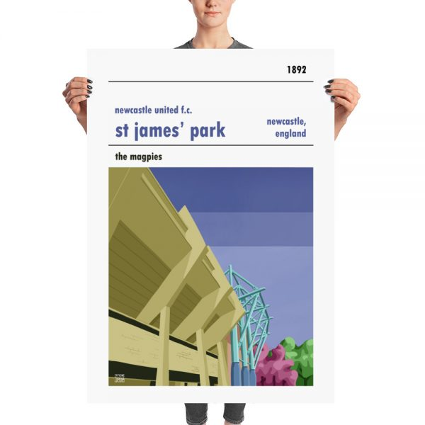 A huge football poster of St James Park and the Magpies