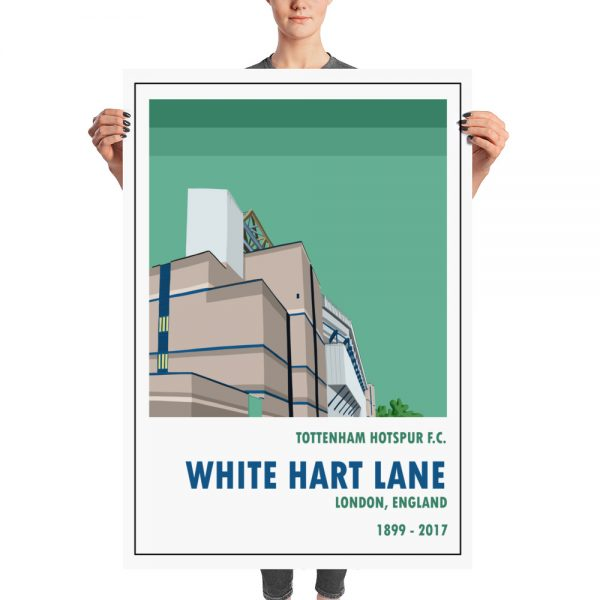 A huge football poster of Spurs and Old White Hart Lane, Tottenham