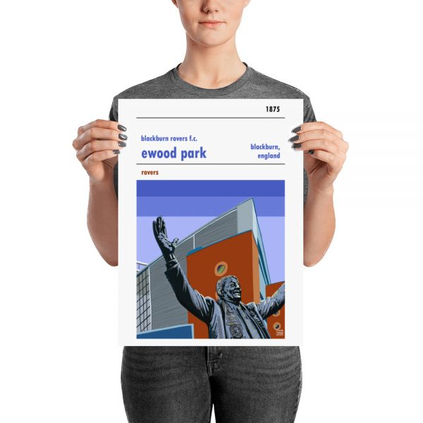 A medium football poster of Blackburn Rovers FC and Ewood Park
