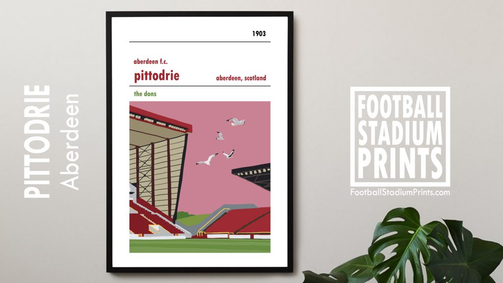 A framed Poster of Aberdeen fc and their home ground of Pittodrie. Showing seagulls