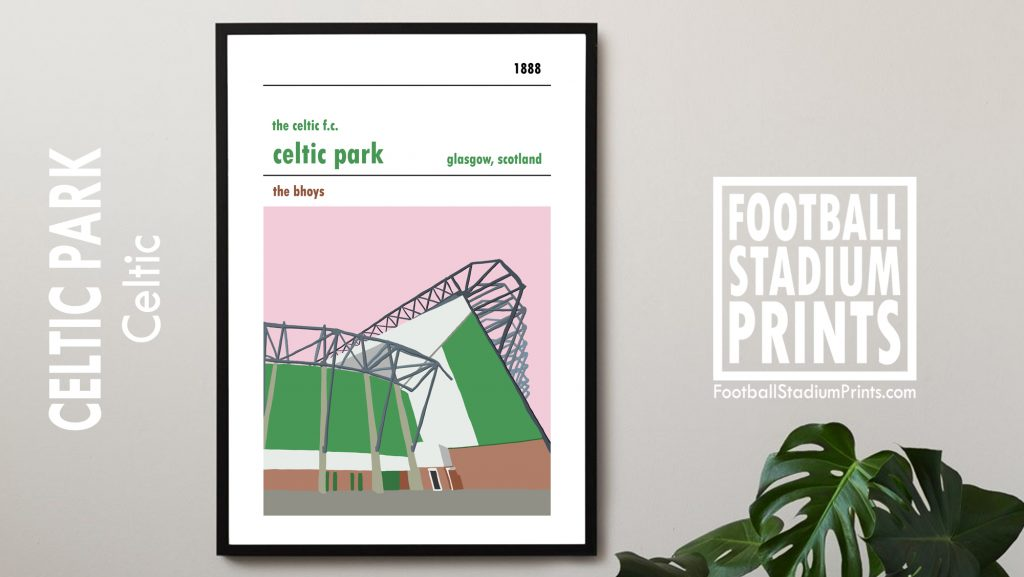 A framed poster of Celtic Park and the Lisbon Lions stand, home of Celtic