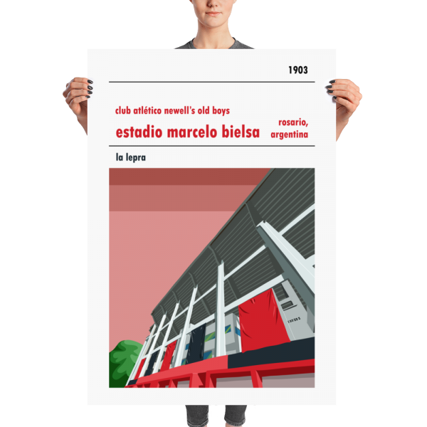 A huge football stadium poster of Newell's Old Boys and Estadio Marcelo Bielsa