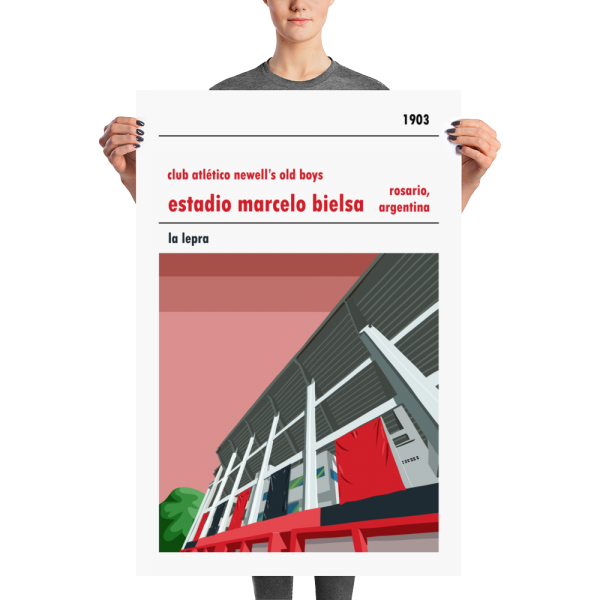 A large football poster of Newell's Old Boys and Estadio Marcelo Bielsa