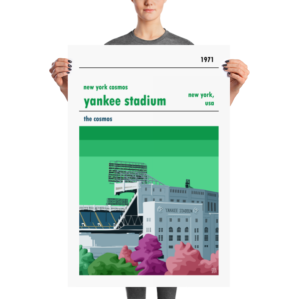 A Large football poster of Yankee Stadium, previous home of New York Cosmos