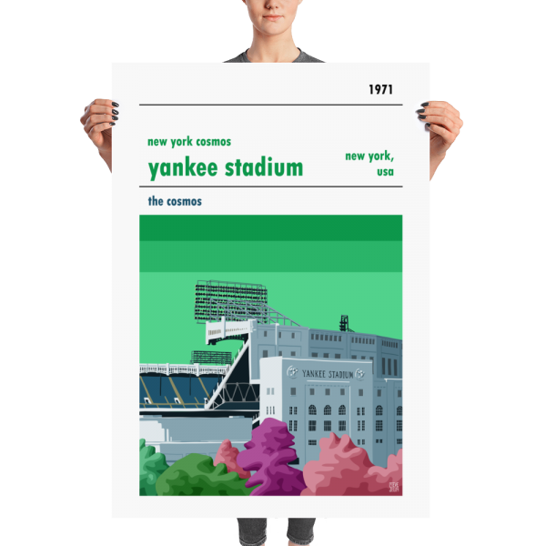 A huge football poster of New York Cosmos and Yankee Stadium