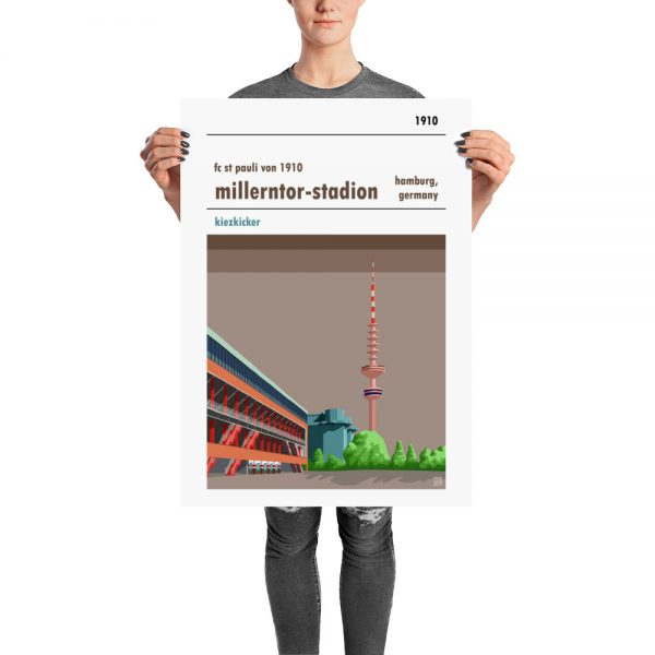Large exclusive football stadium poster of Millerntor Stadion and FC St Pauli