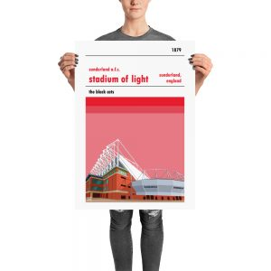 A stadium poster of Sunderland AFC and the Stadium of Light. The black cats