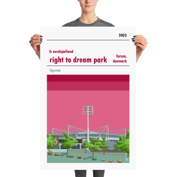 Huge football poster of FC Nordsjælland and the Right to Dream Park