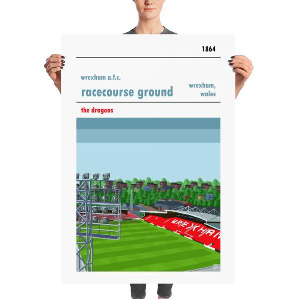 A huge stadium poster of Wrexham AFC and the Racecourse ground