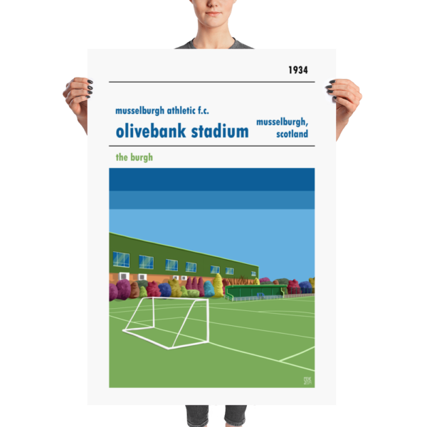 A huge Football Poster of the main stand at Musselburgh Athletic, Olivebank